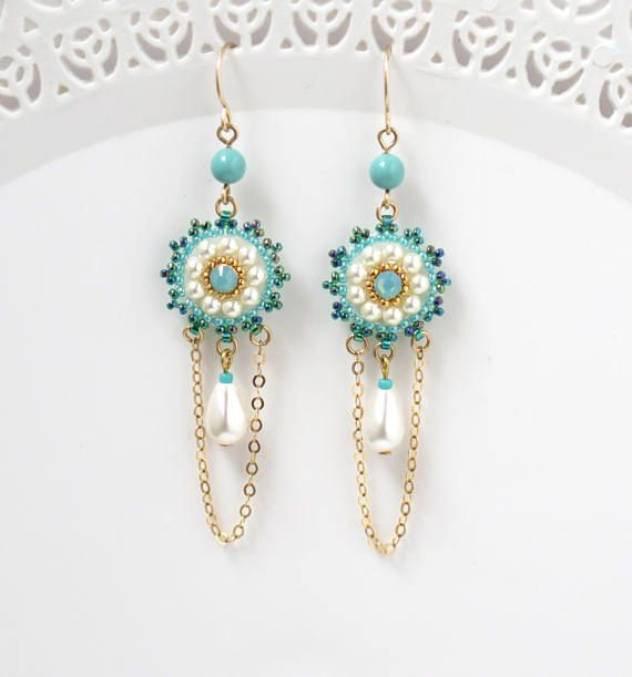 Turquoise and pearl earrings, Drop pearl earrings gold, Turquoise bridal earrings, Boho chic chandelier earrings, Fashion earrings