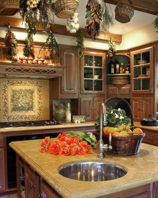 Intricate english cottage design in classic interior for Old country style kitchen