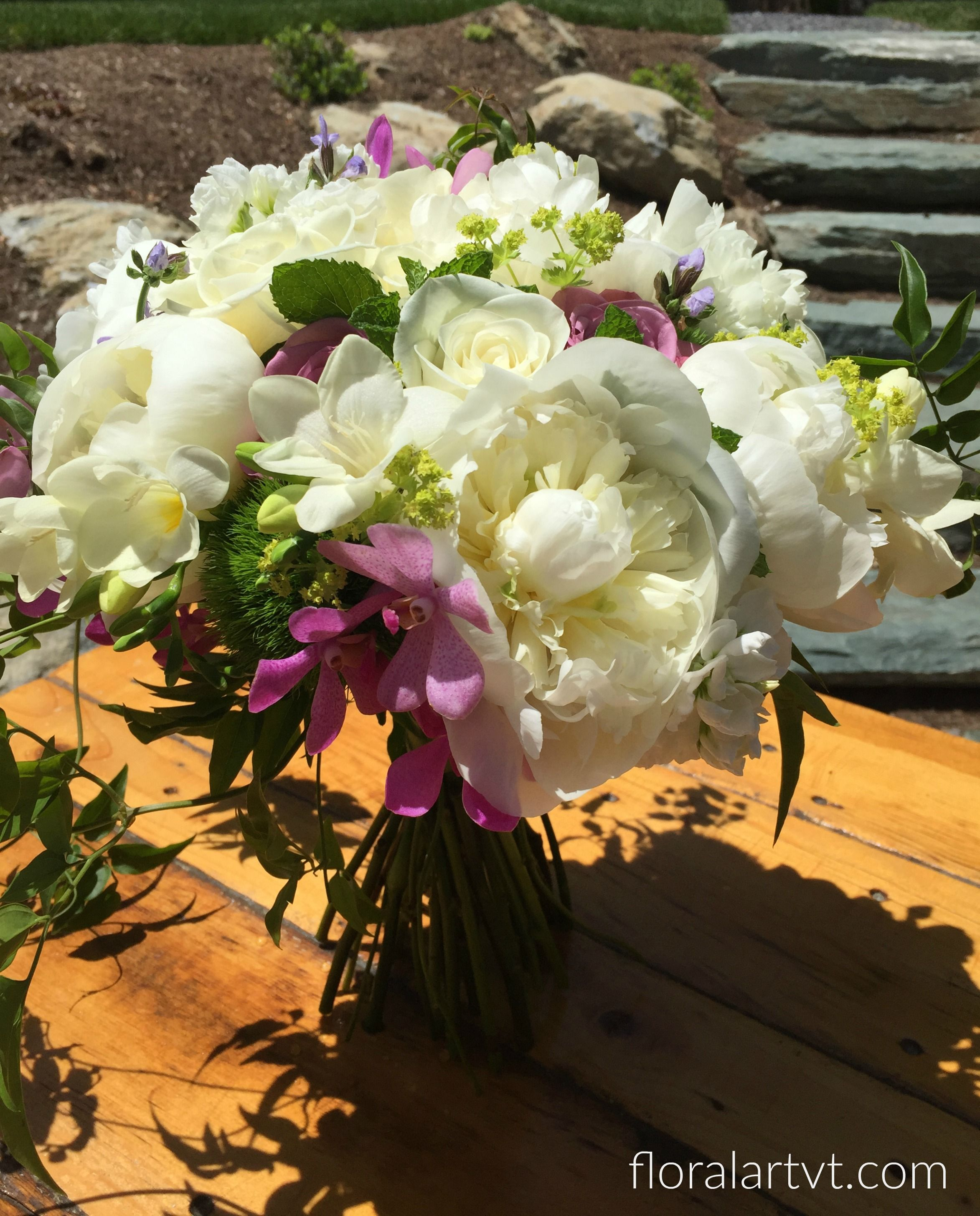 Bouquet Of White Peonies Freesia Roses And Orchids With Jasmine