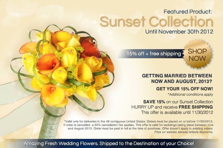Sunset collection, which includes roses, mini callas and pins and lily grass, is now 15% off PLUS free shipping! www.bridesign.com