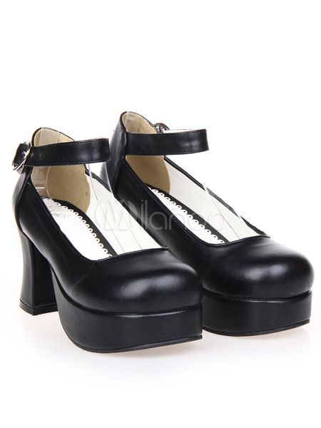 Zapatos negros de lolita de PU de estilo dulce P6yGT2
