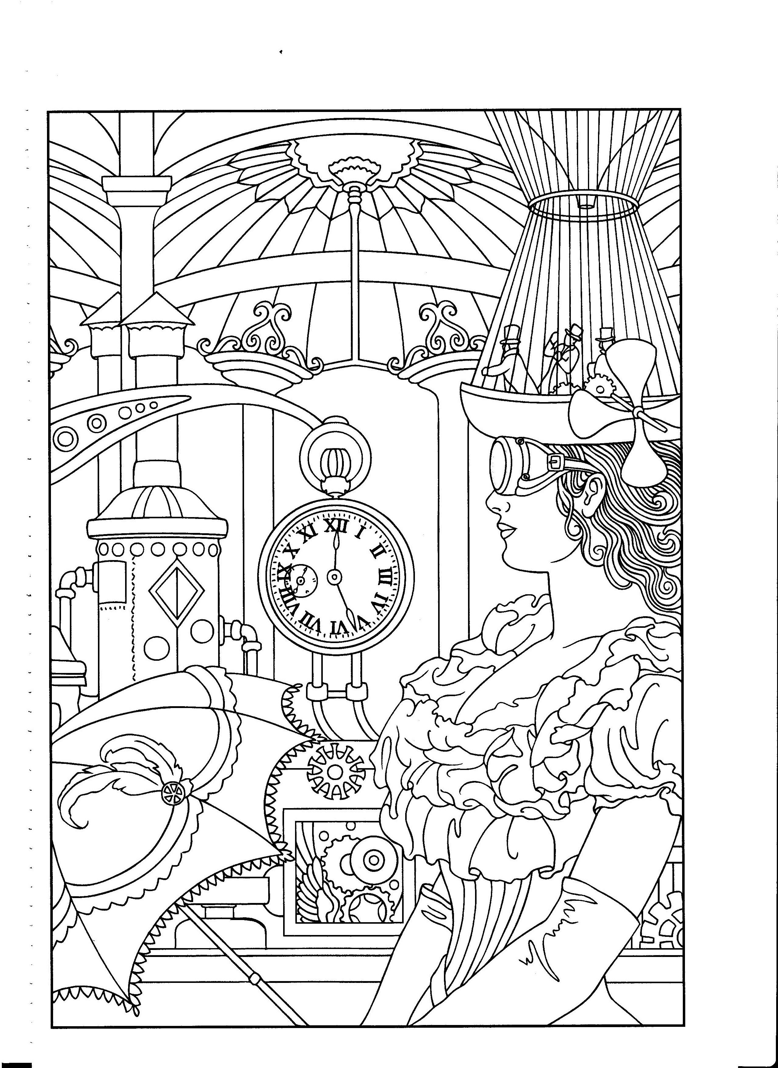 Pin By Coloring Pages For Adults On Steampunk Designs Coloring Books Steampunk Coloring Dubai Khalifa