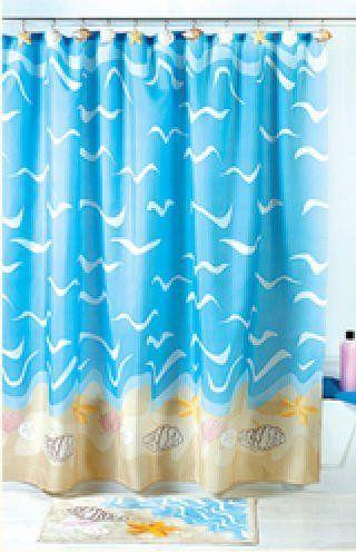 Seashell Sea Shell Beach Shower Curtain Bathroom Decor By Otc Http Www Amazon Com D With Images Beach Theme Shower Curtain Beach Shower Curtains Nautical Bathroom Decor