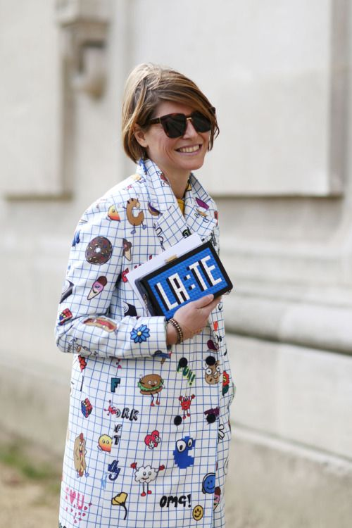 We hope this #PFW attendee wasn't running too LA:TE for any shows! #AW15 . WGSN Street Style Shot