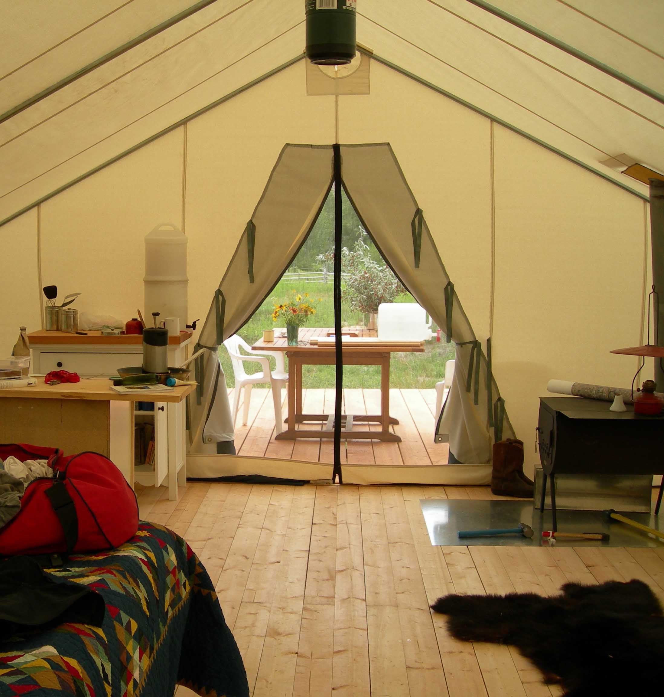 Hardwood Floor Glamping Tents Wall Tent Canvas Tent Tent Awning