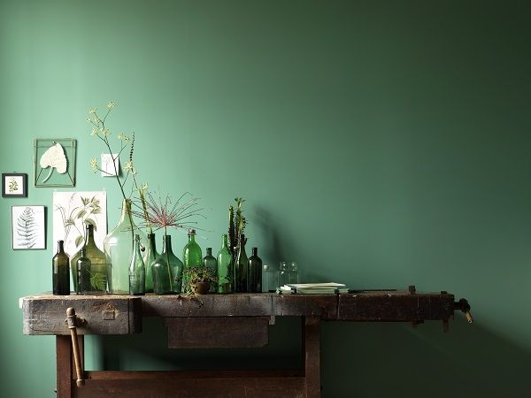 Karwei diepgroen past helemaal in de interieurtrend met botanische prints en een - Verf credenza ...