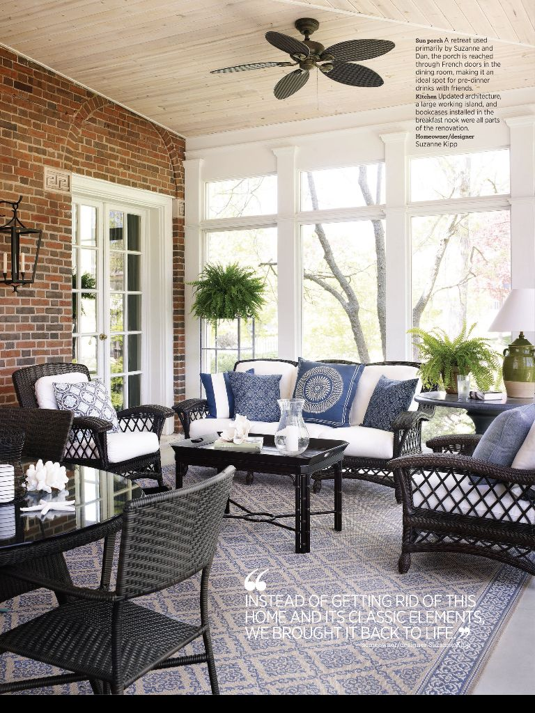 Sunroom Screened Porch Furniture Porches White Wicker Patio Deck Layout