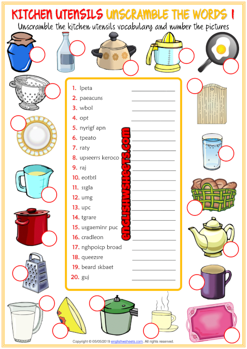 Kitchen Utensils Esl Unscramble The Words Worksheets In 2020 Kitchen Utensils Worksheet Kitchen Utensils Kids Worksheets Printables