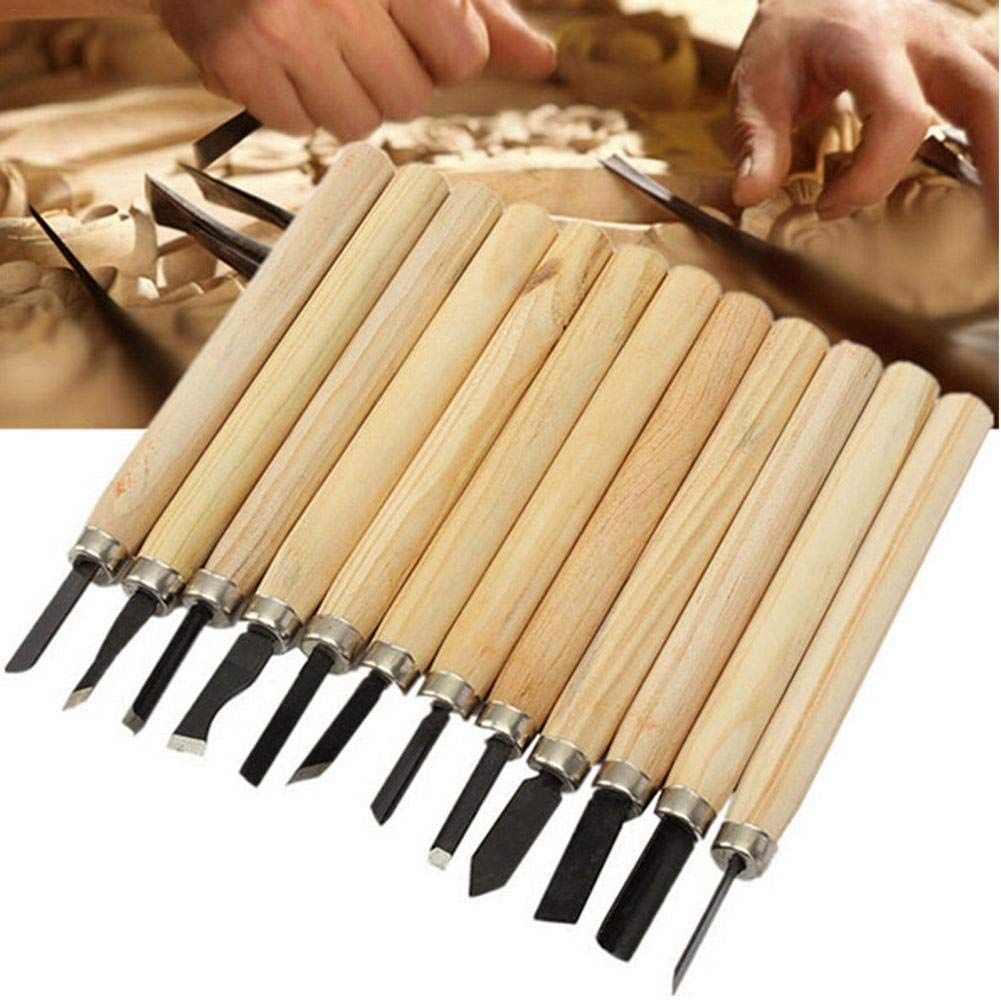 12Pcs Wood Carving Hand Chisel Woodworking Tool Woodworkers Gouges Set