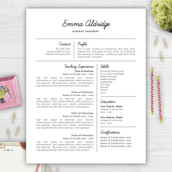 Stand out from the competition with this best-selling résumé - resume template for teachers
