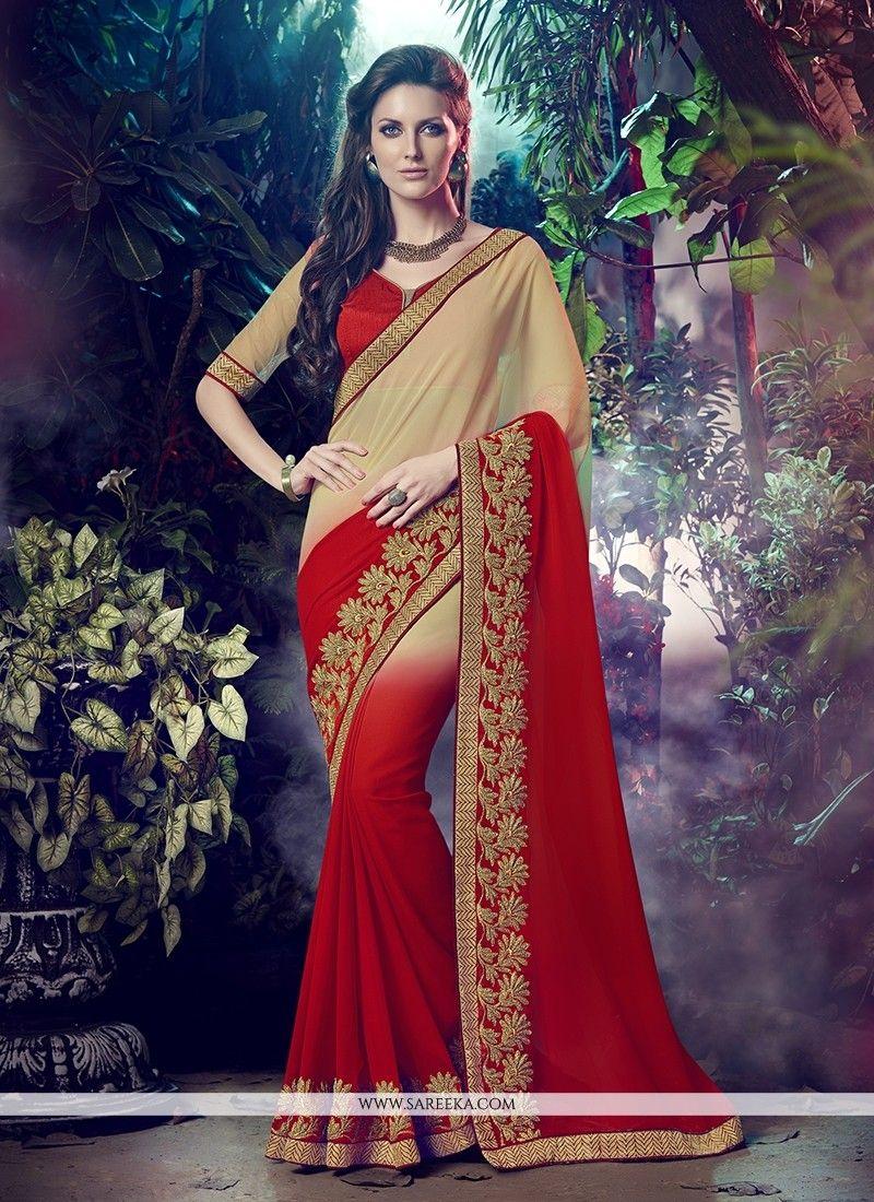 Patch Border Georgette Designer Saree in Red   Saree
