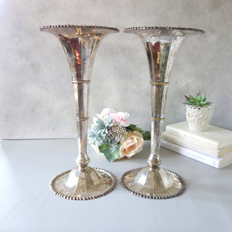 80cm Tall Wedding Flower Vase Metal Trumpet Vase For: Large Pair Silverplate Fluted Vases, Vintage Tall Flower