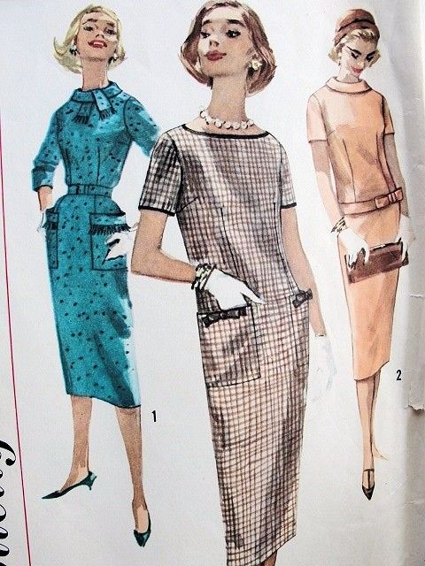 Brilliant 1950S Slim Dress Pattern Straight Style 3 Versions Simple To Make Hairstyle Inspiration Daily Dogsangcom