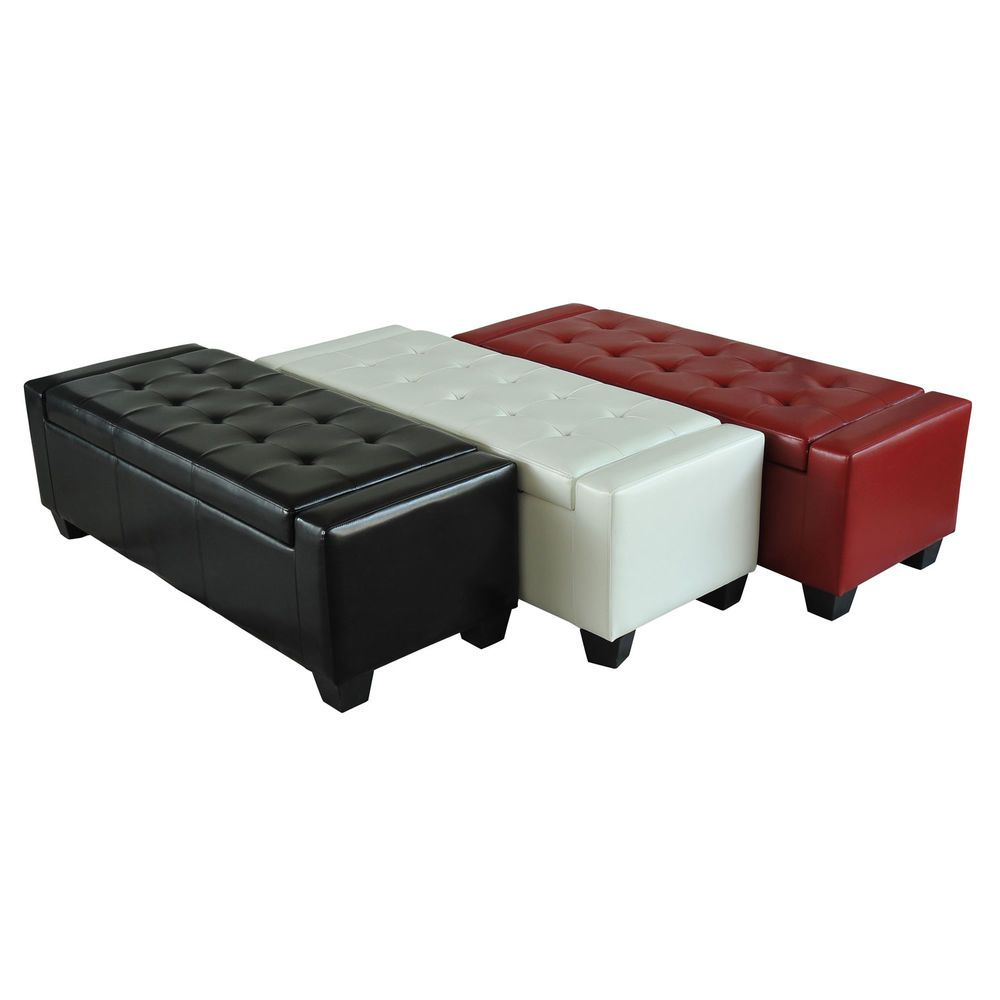 Details about Home Modern Ottoman Storage Bench Seat Footrest Sofa Shoe Faux Leather  sc 1 st  Pinterest & Details about Home Modern Ottoman Storage Bench Seat Footrest Sofa ...