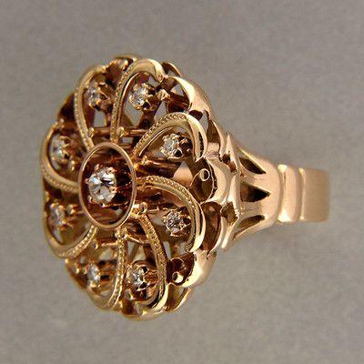 Spinning Wheel Design Old Mine Cut 20ct Diamond 14k Rose Gold Ring