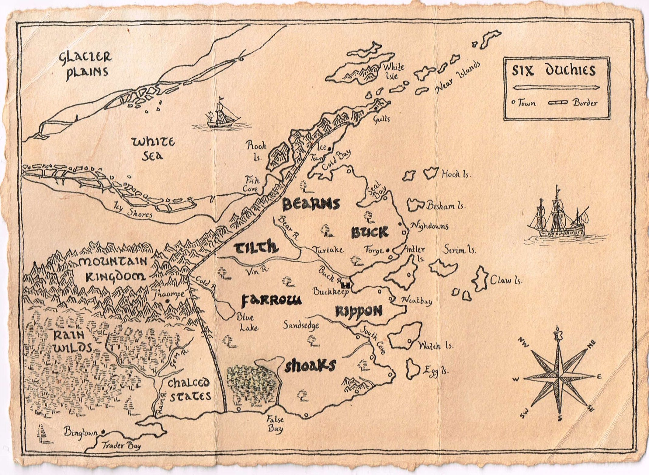 A Map Of The Six Duchies, From The Farseer Trilogy By Robin Hobb It's