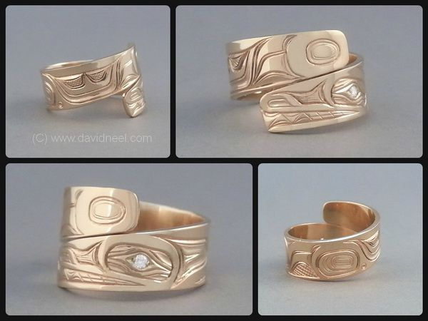 Northwest Coast Native American Indian Wolf Gold Diamond Ring
