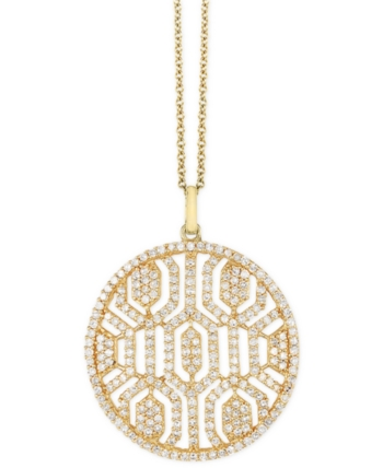 1534b052389 Effy Diamond Openwork 18 Pendant Necklace (1 ct. t.w.) in 14k Gold ...
