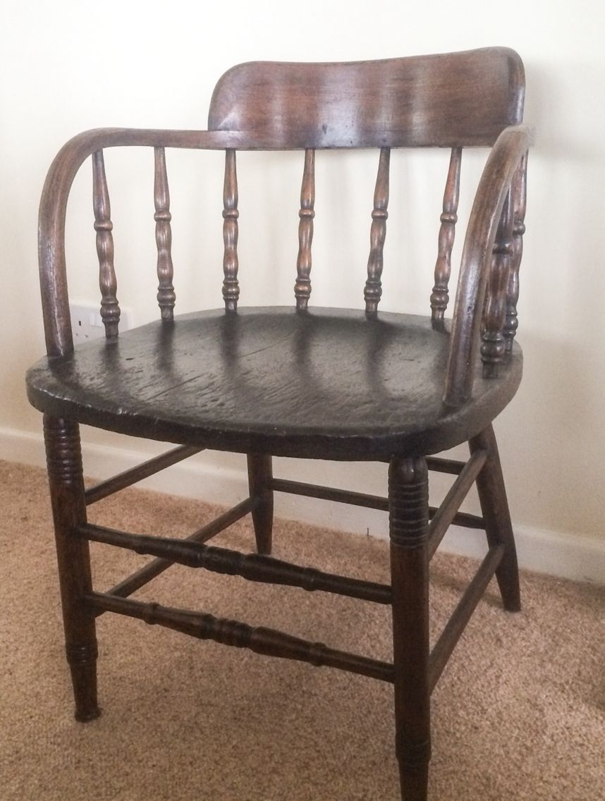 beautiful antique smokers captains chair! lovely aged patina
