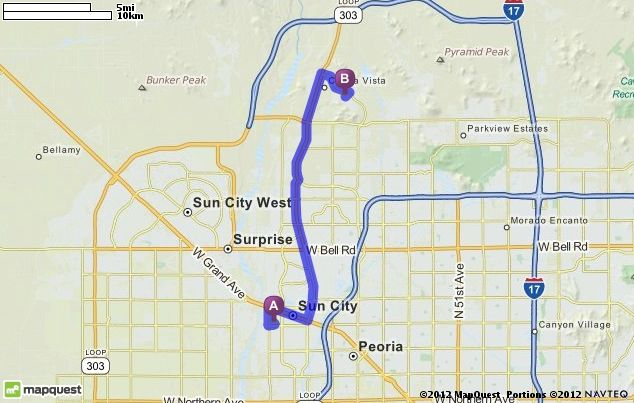 Driving Directions from 12242 N Saint Annes Dr, Sun City, Arizona 85351 to 26716 N High Desert Dr, Peoria, Arizona 85383 | MapQuest
