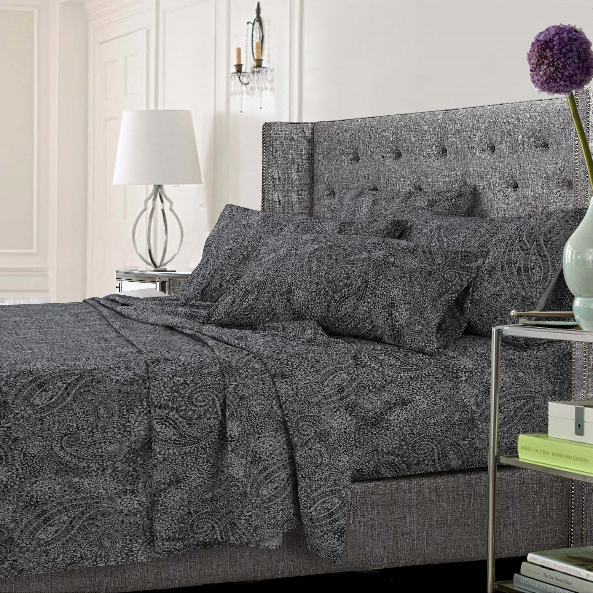 Alcott Hill Coatsburg Ultra Soft Solid Or Printed Extra Deep Pocket Sheet Set Size Twin Xl Color Paisley Gray