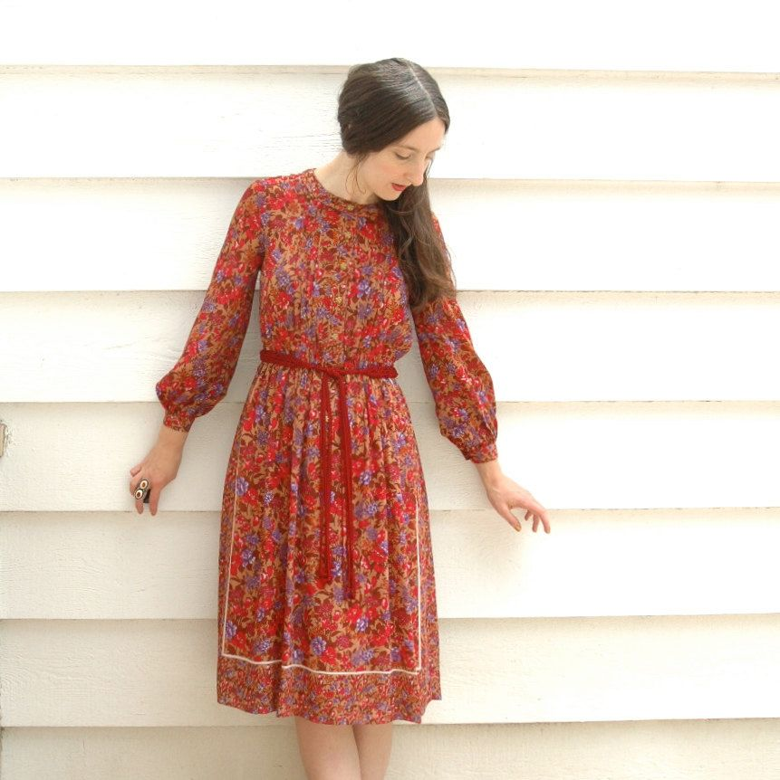 Vintage Floral Dress Japanese Vintage Boho Chic by AstralBoutique, $48.00