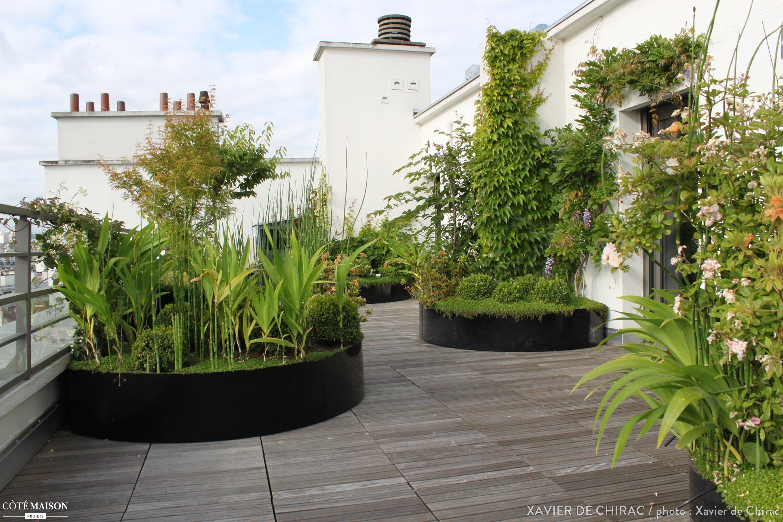 Plantes De Terrasse Arbustes une terrasse en bois aux lignes courbes, avec massifs d