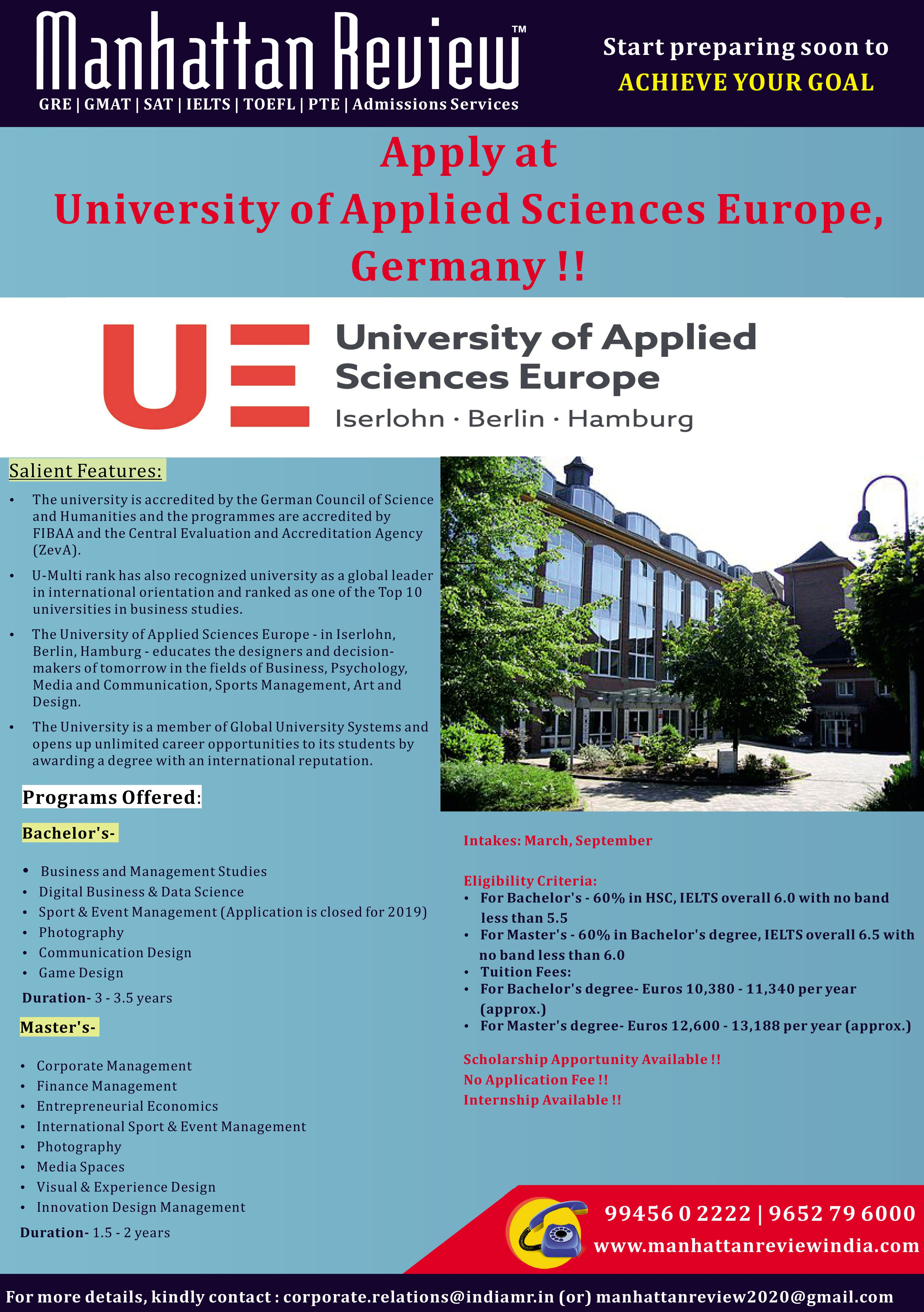 Study In University Of Applied Sciences Europe Germany Admissions Are Accepting For March 2020 Intake Call Us To 9945602222 Applied Science Gmat Gmat Prep