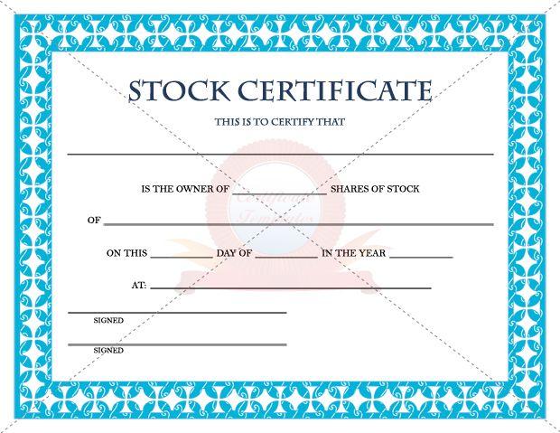 Stock certificate template stock certificate templates stock certificate template yadclub Choice Image