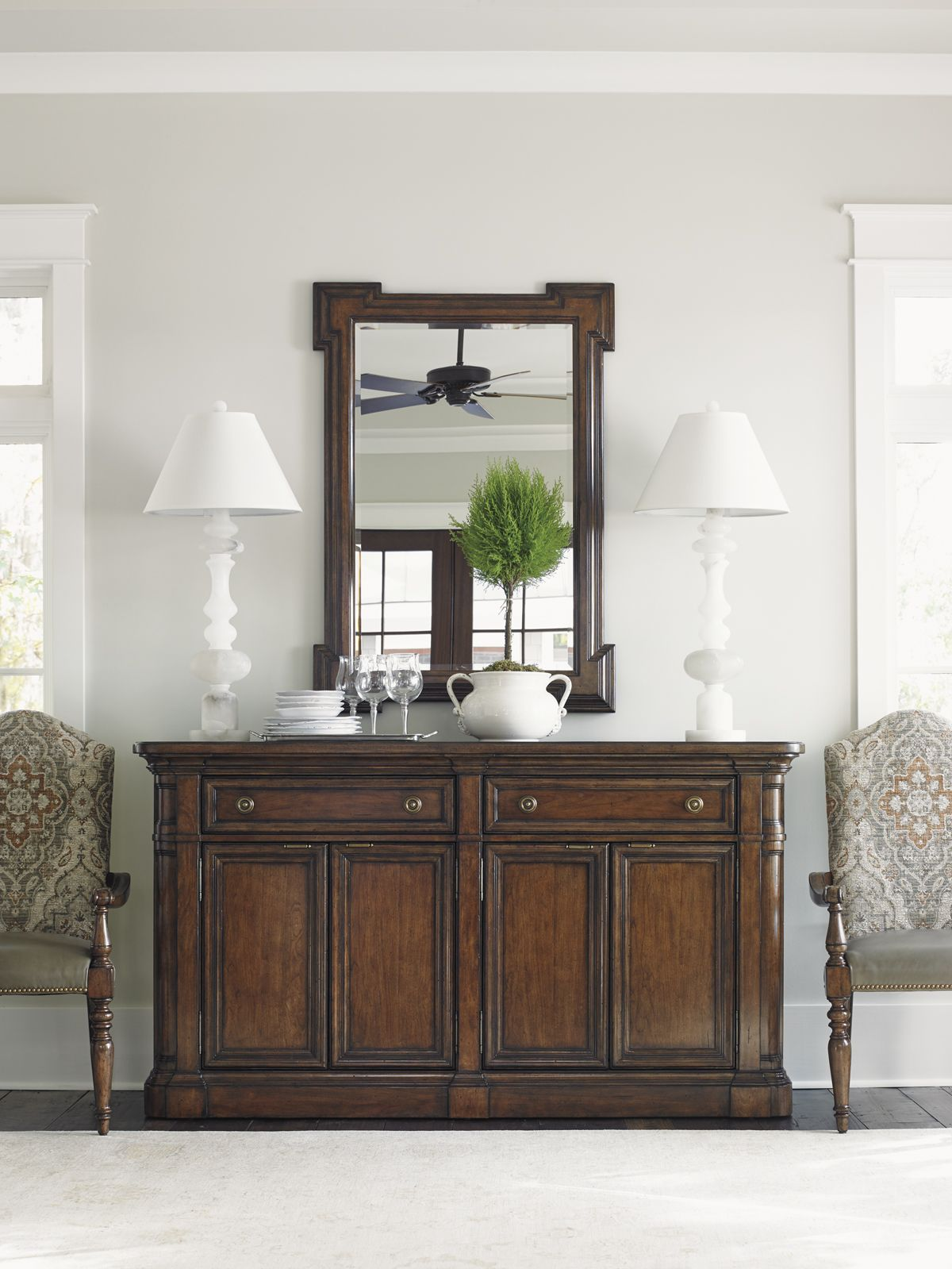 Coventry Hills Hampton Buffet And Carved Cherry Mirror Lexington Home Brands Furniture Dining Storage Traditional