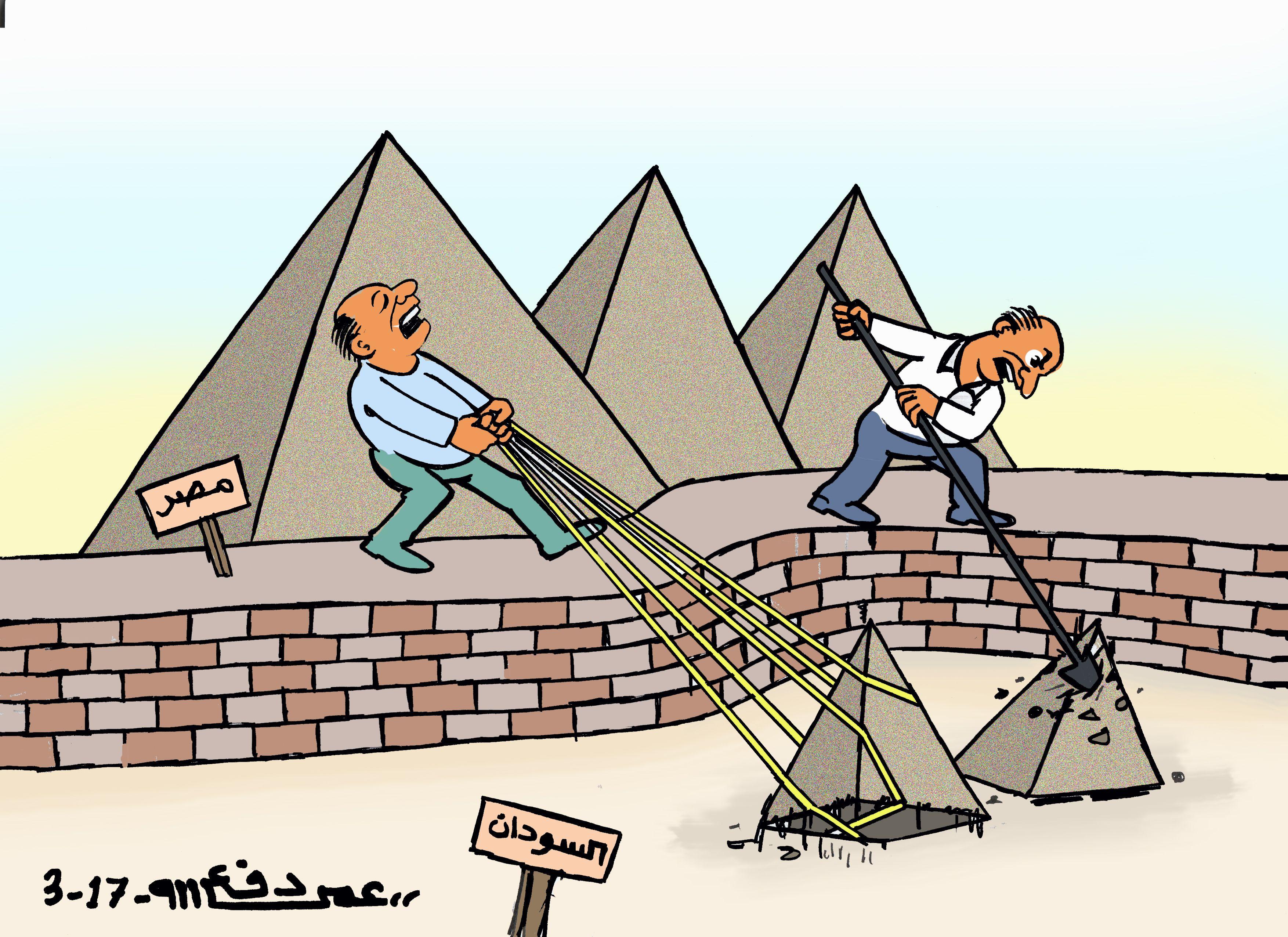 كاركاتير اليوم الموافق 20 مارس 2017 للفنان عمر دفع الله عن زيارة اهرامات السودان