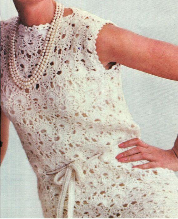 CROCHET DRESS PATTERN Vintage 70s Crochet Mod Dress Pattern Crochet ...