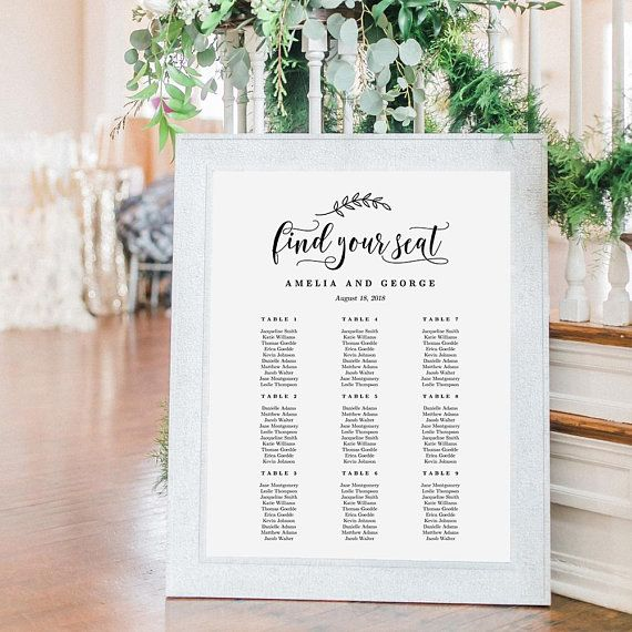 sizes wedding seating chart template editable table also rh pinterest