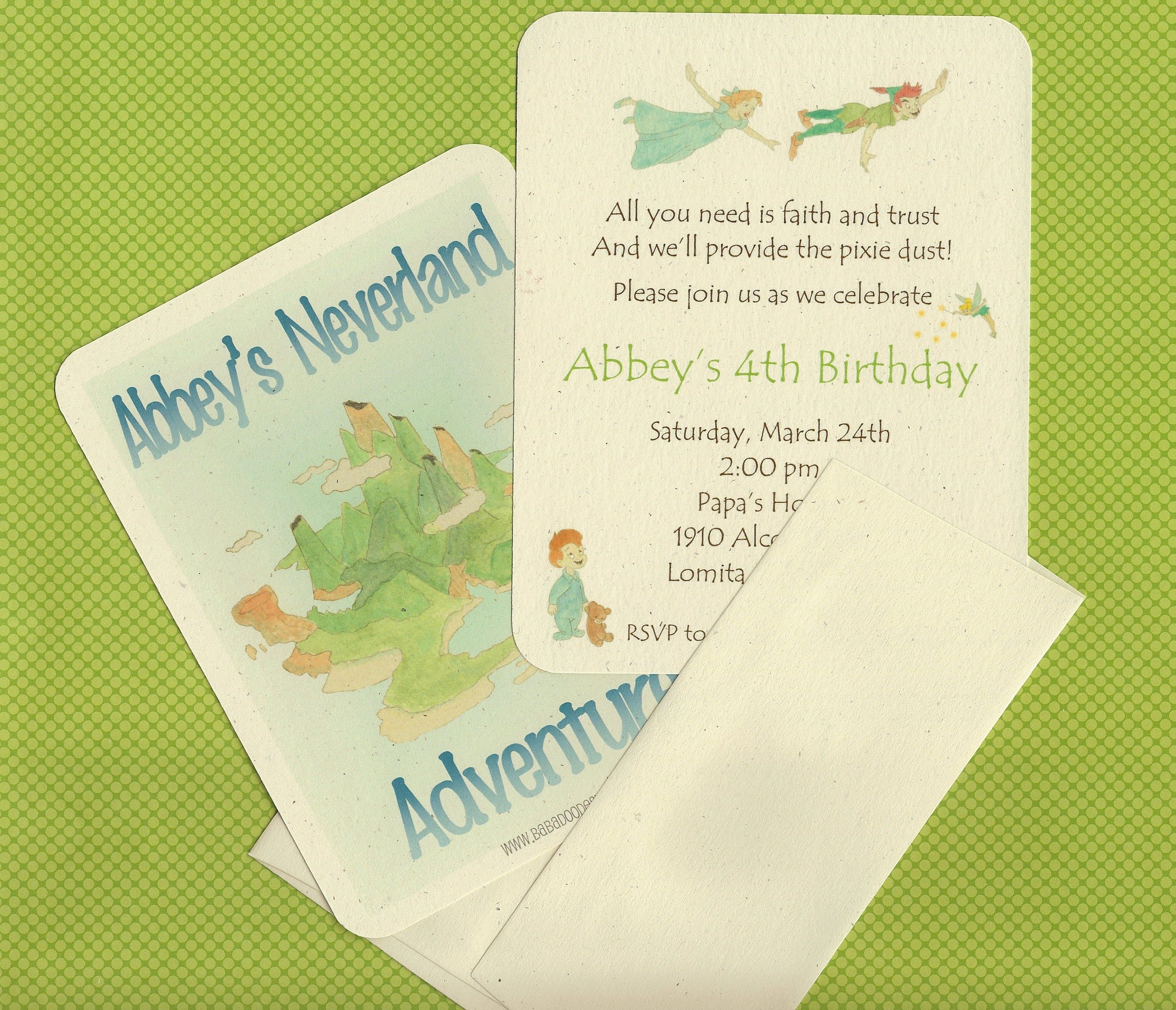 Peter Pan Invitation - double sided invitation. printed on 100 ...