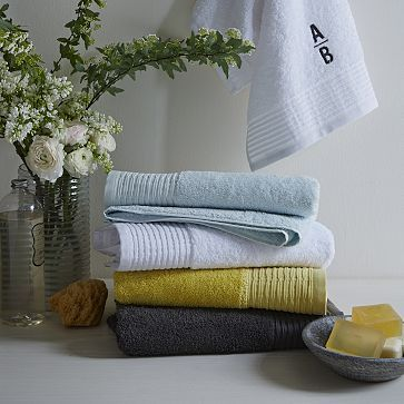 West Elm, Organic Pleated Edge Towels in Clearwater ...
