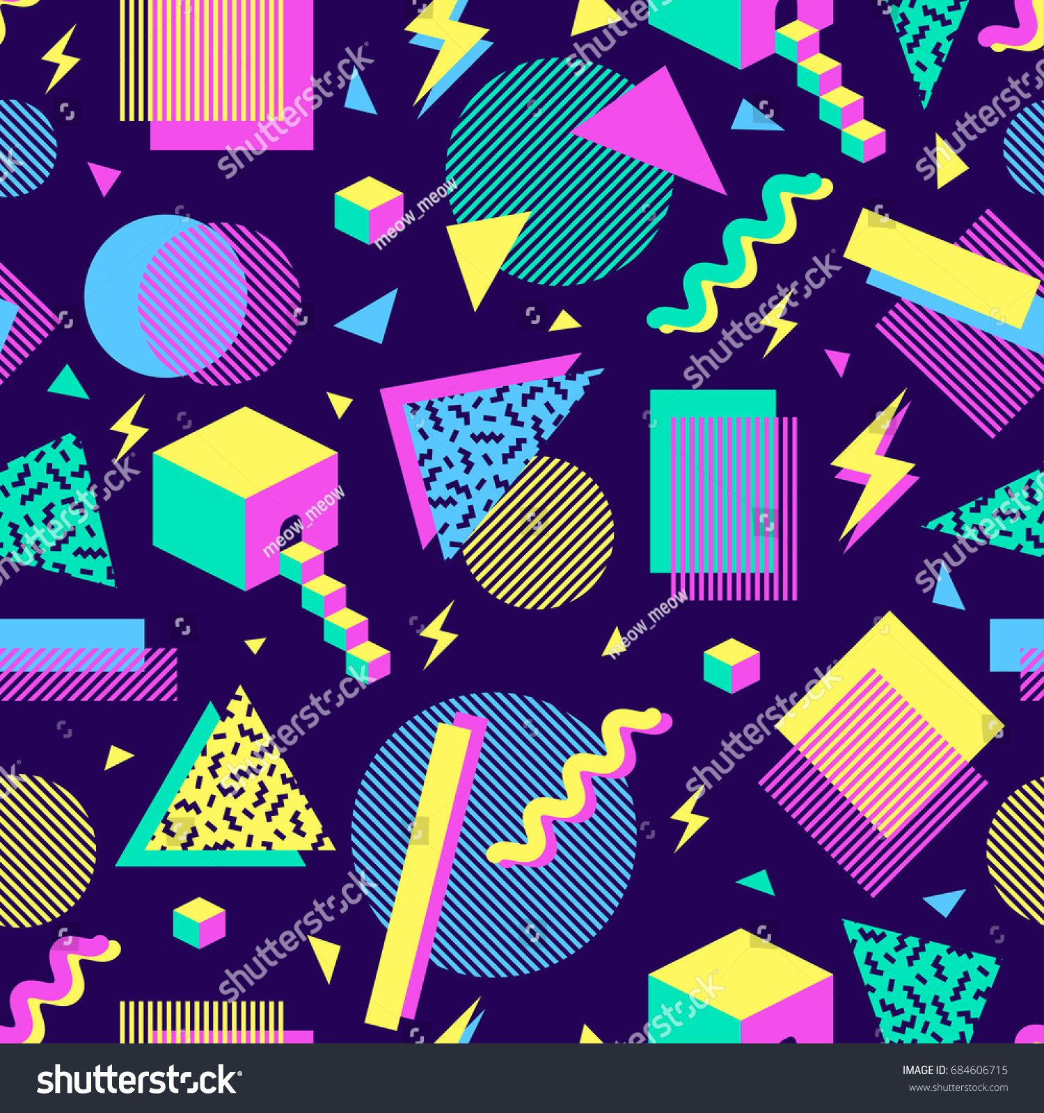 vector seamless pattern with multicolor geometric shapes