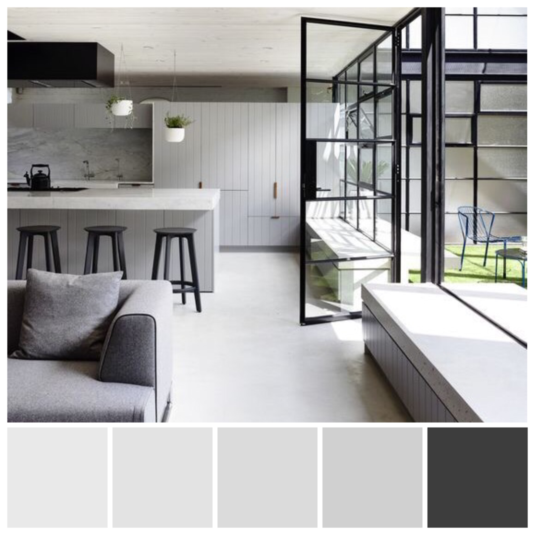 Achromatic Interior Colour Scheme High Key Major Chord Tonal Values Convey A Sense Of Ai Interior Color Schemes House Color Schemes Interior Achromatic Color