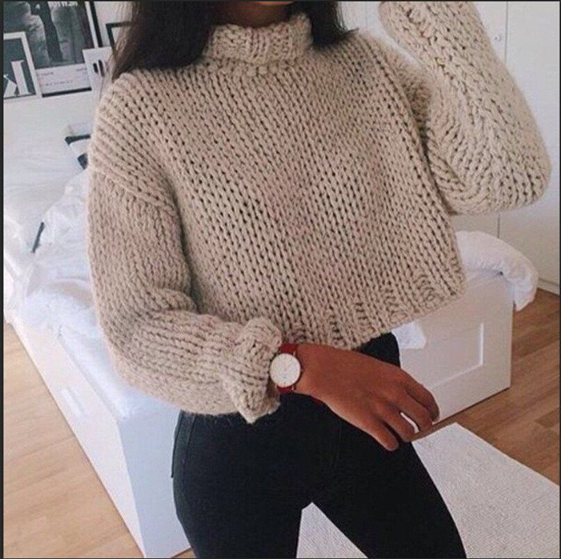 CROP TOP HIGH NECK SWEATER from GIRLNEED