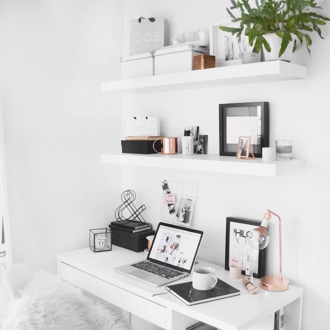 Minimal desk, ikea floating shelves with rose gold detail