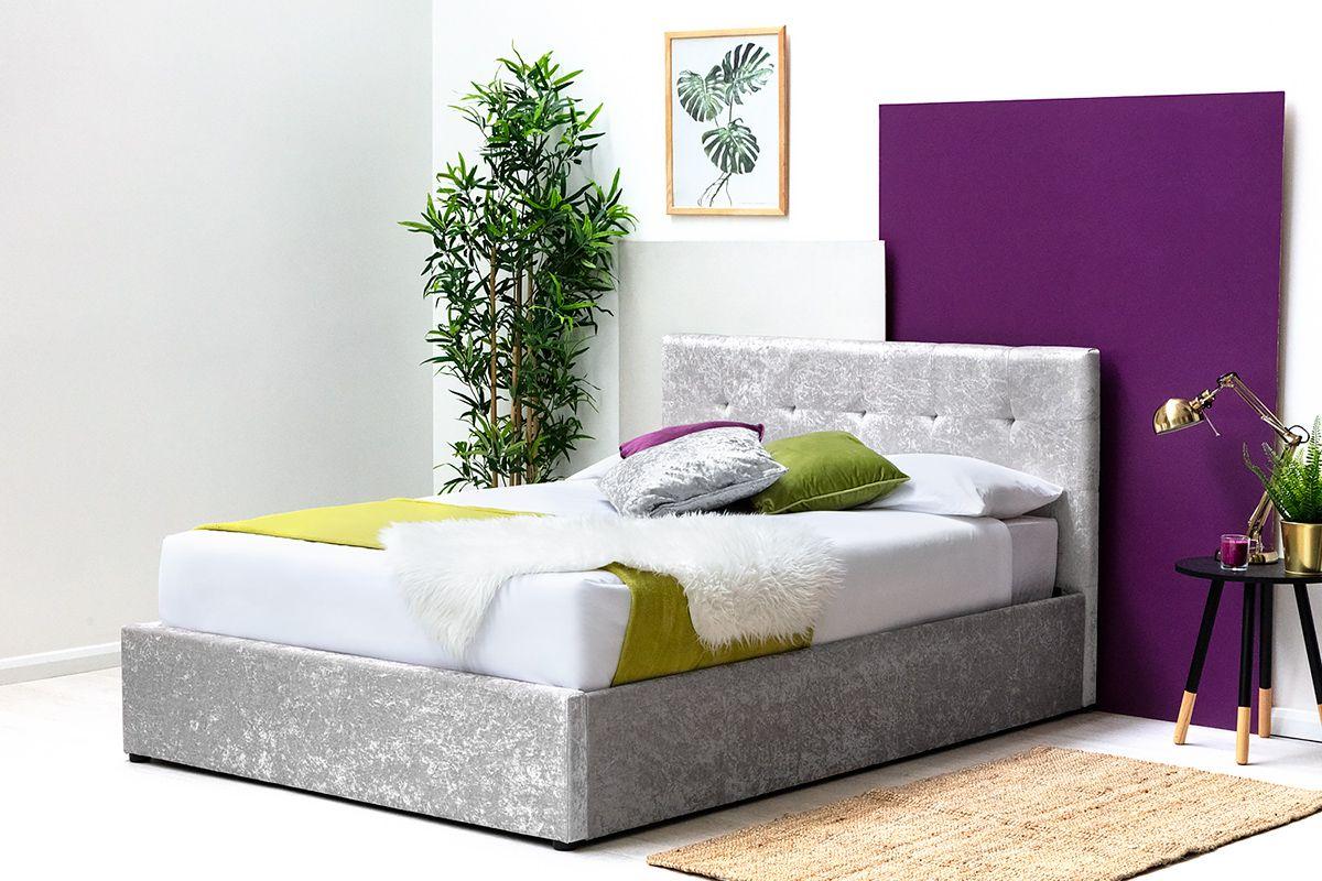 Crushed Velvet Lift Up Ottoman Storage King Size Bed Frame