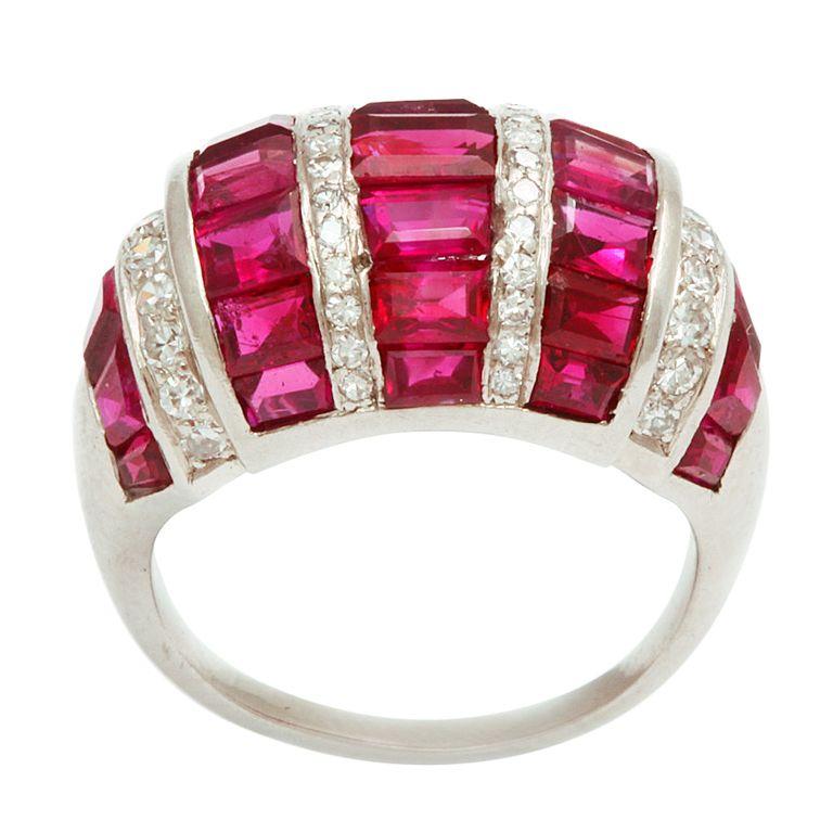 Art Deco Bombe Ruby and Diamond Ring. 1930s