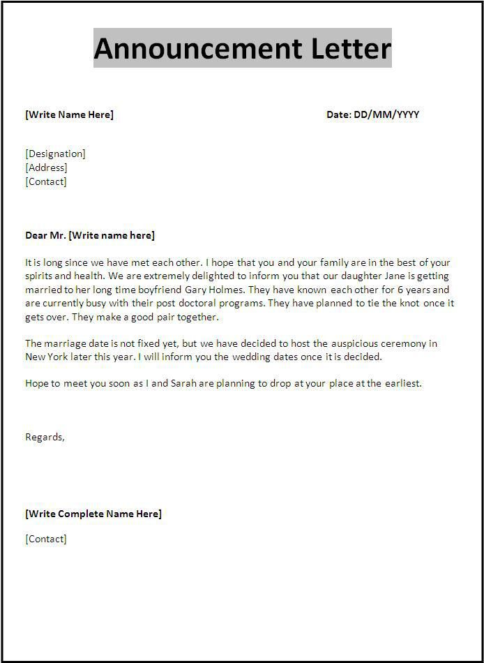 Announcement Letter Template | Own | Letter template word ...