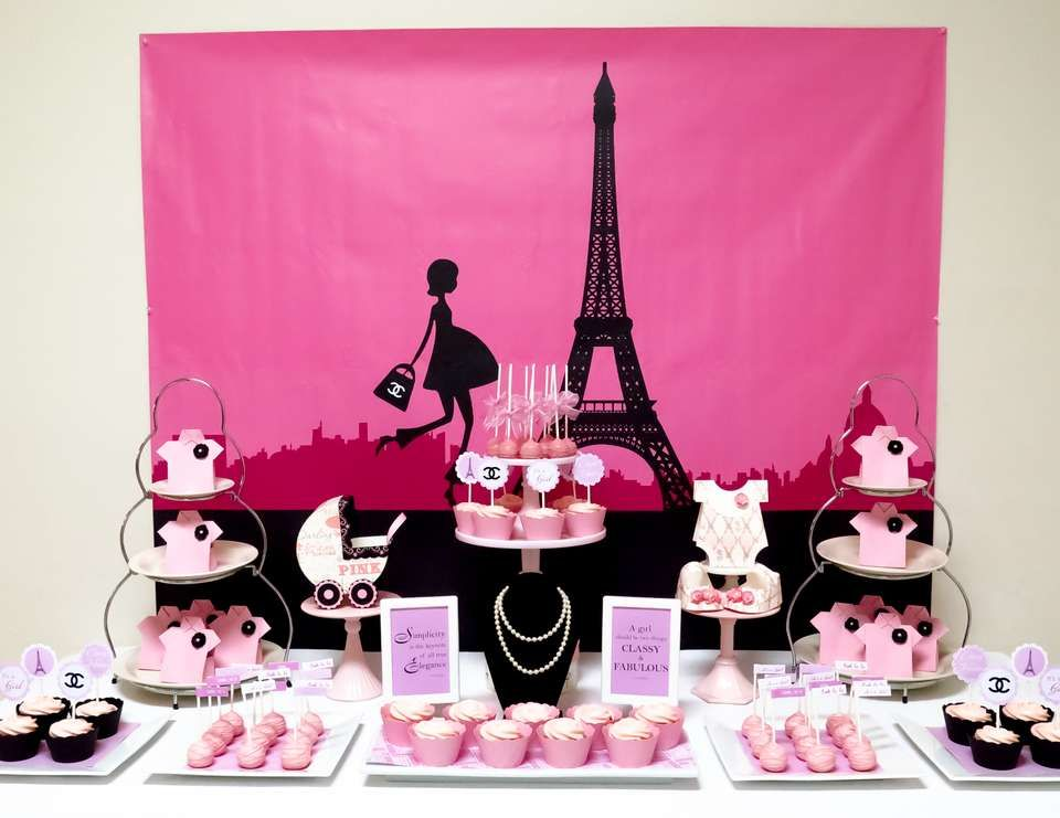 French Parisian Baby Shower Pink Paris Themed Baby Shower