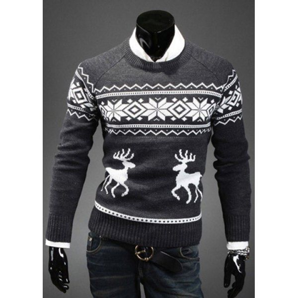 Fashion Scoop Neck Pullover Christmas Deer Printed Men's Long Sleeve Cotton Blend Sweater, DEEP GRAY, M in Cardigans & Sweaters | DressLily.com