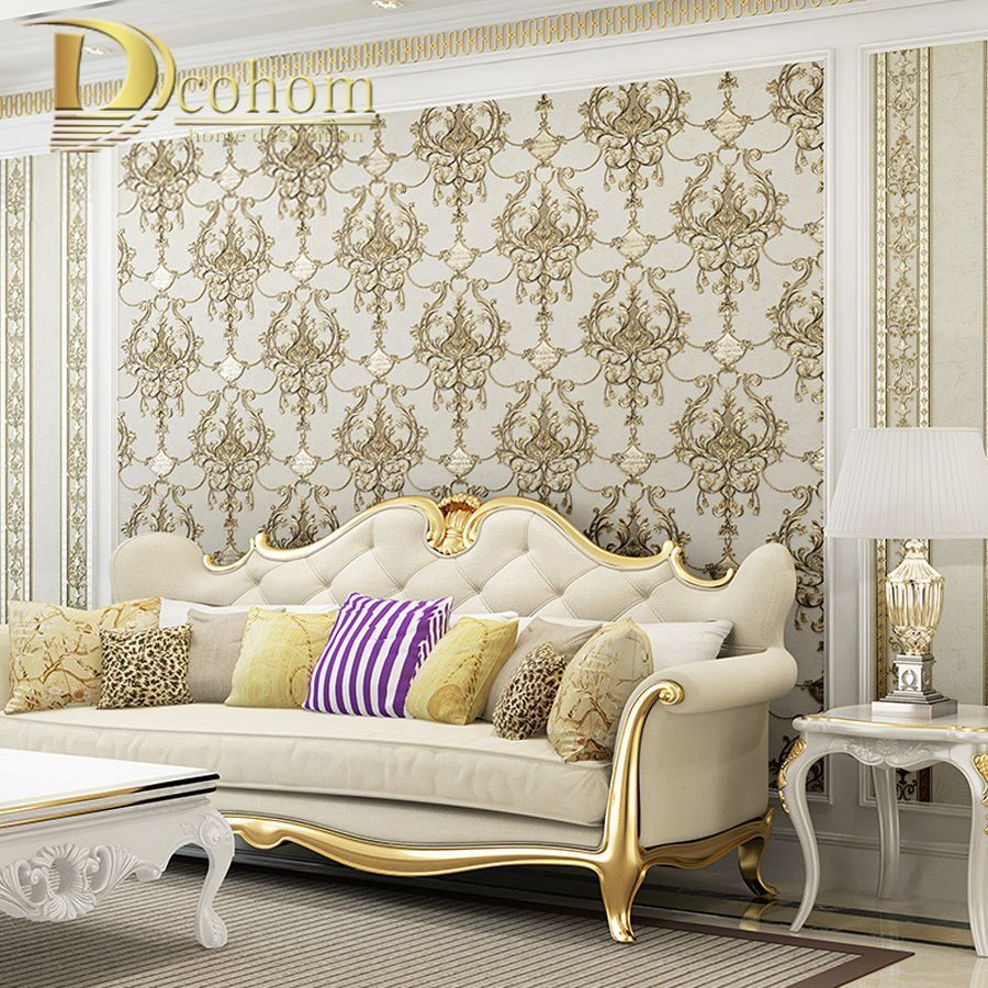 European Style Damask Wallpaper For Walls 3 D Embossed Luxury Wall ...