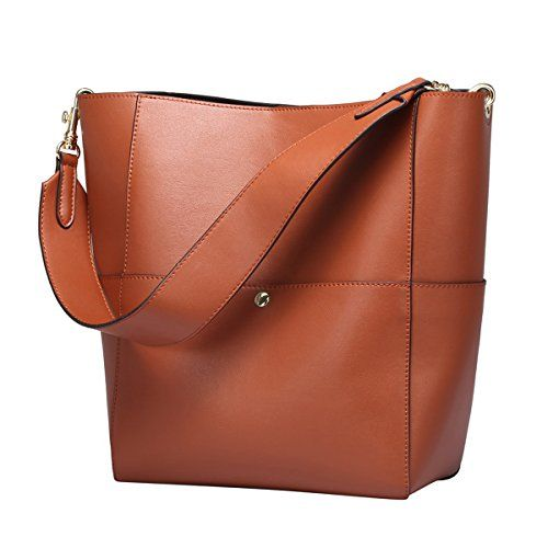 5301f8ab3562 SALE PRICE -  55.99 - S-ZONE Women s Fashion Vintage Leather Bucket Tote  Shoulder Bag Handbag Purse