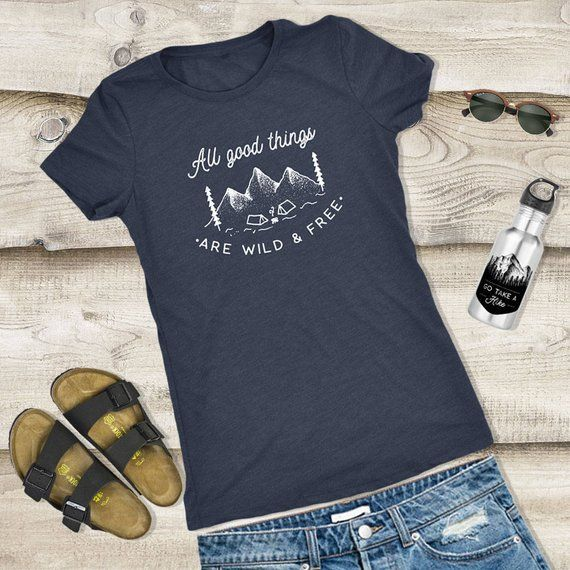 5a3c994e3 Wild and Free Camping T-Shirt, womens camping shirt, hiking shirt, hiking