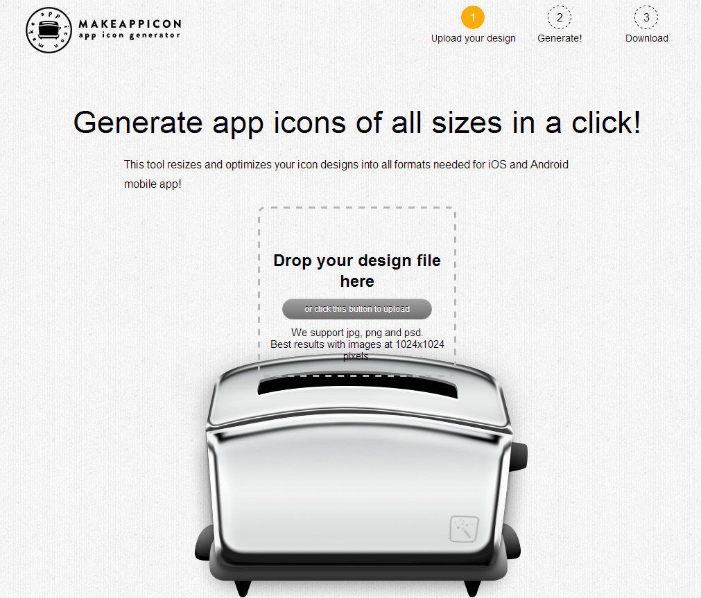 Generate app icons of all sizes in a click!