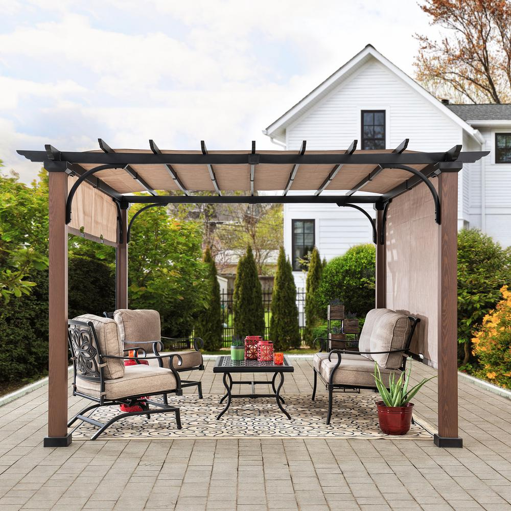 Sunjoy Neuralia 10 Ft X 10 Ft Steel Pergola With Natural Wood Looking Finish And Adjustable Tan Shade 169407 The Home Depot In 2020 Steel Pergola Deck Shade Pergola