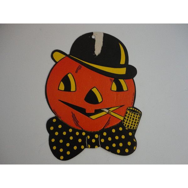 Vintage Halloween Pumpkin Pumpkin with pipe- Luhrs Die cut- Embossed... (€9,29) via Polyvore featuring home, home decor, holiday decorations, halloween home decor, harvest home decor, fall home decor, pumpkin home decor e halloween lanterns